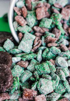 Thin Mint Muddy Buddies | Would be great for St. Patty's Day!