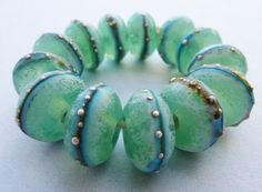 13 Beautiful Ancient Translucent Matte Mint Green Lampworked Beads with Fine Silver and Ename