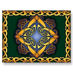 Celtic Knotwork Postcard: Blue Gold and Green