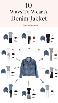 See 10 ways to wear a denim jacket, from casual to dress, with classic, basic essentials you may have in your closet! fashion quotes 10 Ways To Wear A Denim Jacket - Classy Yet Trendy Teen Fashion Outfits, Mode Outfits, Look Fashion, Trendy Outfits, Fashion Shoes, Airport Outfits, Fashion Ideas, Classy Fashion, Nike Fashion