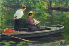 Marie and Her Sister Sketching in a Boat, 1895, Hermann Seeger