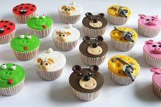Grappige cupcakes met dieren