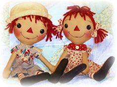Patrón de muñeca primitiva, chica o chico, Raggedy Ann y Andy, patrón de costura PDF, patrón de muñeca de trapo, Annie patrón