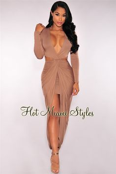 Toffee Cut Out Draped Slit Dress sexy Womens clothing clothes hot miami styles hotmiamistyles hotmiamistyles.com sexy club wear evening clubwear cocktail party kim kardashian dresses bandage body con bodycon herve leger