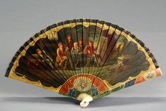 French Painted Hand Fan Ernest Kees, Late 19th Cen