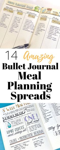 A bullet journal meal planning spread takes the stress out of the nightly dinner rush! Check out 14 different ways to meal plan using a bullet journal! budget bullet journal Bullet Journal Meal Planning Spreads ⋆ Sheena of the Journal