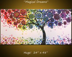 """Rainbow Art Paintings Original Large Abstract Modern Contemporary Tree... Ready to hang ... 24 x 48 .. """"Magical Dreams"""""""