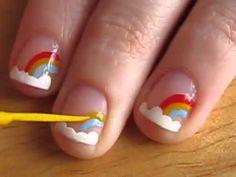 Nail Art for Short Nails Rainbow Design - YouTube