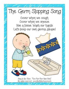 "Cold and flu season is just around the corner. Help your students remember to practice good hygiene habits with the ""Germ Stopping Song."" The ""Germ Stopping Song and poster is a fun way to remind students to cover their coughs and sneezes, use Kindergarten Songs, Preschool Music, Preschool Classroom, Preschool Learning, Preschool Activities, Montessori Elementary, Transition Songs For Preschool, January Preschool Themes, Preschool Transitions"