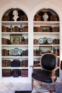 This reader has a two part question for Miss Cote de Texas! The first question: Hope you are well! I have two design centered quest. Library Bookshelves, Built In Bookcase, Bookcases, White Bookshelves, Bookcase Wall, Home Office, Charleston Homes, Bookshelf Styling, Bookshelf Design