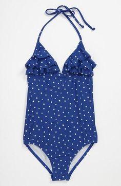 So nautical! Navy Roxy One Piece Swimsuit