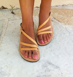 Leather sandals women wedding sandals greek sandals