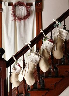 Small Burlap Christmas Stocking    from atCompanyB - etsy