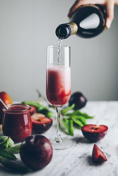 This refreshing summer plum bellini cocktail is a variant of the ever-so-popular peach bellini—an invigorating mixture of stone fruit puree and Prosecco. Prosecco Sparkling Wine, Wine Cocktails, Summer Cocktails, Cocktail Recipes, Alcoholic Drinks, Beverages, Drink Recipes, Cold Drinks, Bellini Cocktail