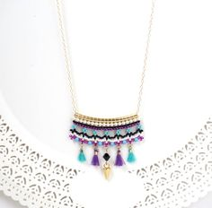 Unique colorful tassel necklace gold, Turquoise and purple bohemian beaded pendant necklace, Long dainty boho necklace for women Horseshoe Necklace, Boho Necklace, Pendant Necklace, Boho Outfits, Gold Bridal Earrings, Turquoise And Purple, Etsy Jewelry, Boho Jewelry, Jewellery