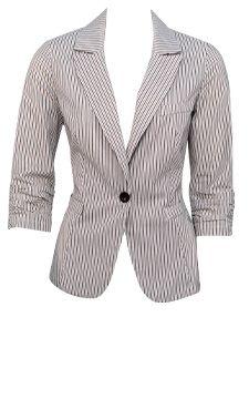 One Button Striped Blazer