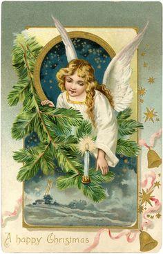 Vintage Angel Postcard - Christmas - The Graphics Fairy