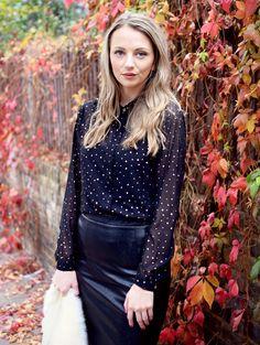 Gold Chiffon Shirt & Leather Look Skirt | Yumi Loves Winter With UK Fashion Blogger