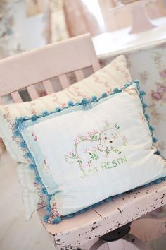 This pillow is super cute... so my style too how it looks like a spaniel AND says Just restin' which is what I do a lot of, lol... http://www.thefancyfarmgirl.com/my-fancy-farmgirl-studio/