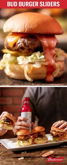 These Budweiser Burgers Sliders are stacked. Caramelized onions, lettuce, American cheese, pickles, and our special Bud sauce. Beer Recipes, Entree Recipes, Vegan Recipes, Cooking Recipes, Drink Recipes, Recipies, Tostadas, Tacos, Burritos