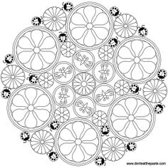 Flower and ladybugs mandala to color- transparent PNG version