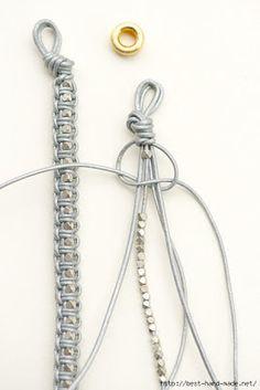 DIY Leather Macrame Bracelet by lebenslustiger # cute Braids diy Leder Armband DIY. Bracelet En Cuir Diy, Leather Bracelet Tutorial, Leather Tutorial, Beaded Bracelets Tutorial, Macrame Jewelry, Macrame Bracelets, Gold Bracelets, Macrame Knots, Gold Earrings
