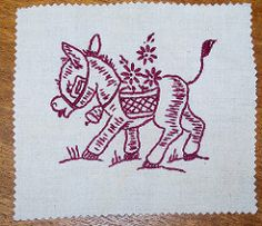 Click site 2x ENLARGE (her p29) redwork donkey (drewzel) vogart