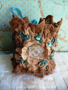 Brown/Turquoise embroidered Cuff by MagicalMysteryTuca on Etsy Fiber Art Jewelry, Lace Jewelry, Textile Jewelry, Fabric Jewelry, Yarn Bracelets, Diy Bracelets Easy, Handmade Bracelets, Handmade Jewelry, Lace Cuffs