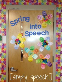 [simply speech.]: Spring into Speech! Paint samples made into syn/ant/artic/etc. flowers