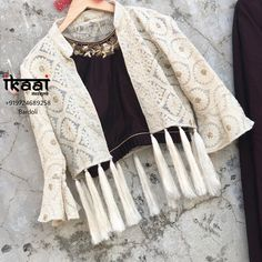50 Women Jackets To Look Cool - Designer Dresses Couture Stylish Dress Designs, Fancy Blouse Designs, Designs For Dresses, Stylish Dresses, Indian Designer Outfits, Indian Outfits, Designer Dresses, Indian Designers, Indian Clothes