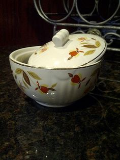 Hall Autumn Leaf Medallion Drip Sugar Bowl by maggiecastillo, $25.00