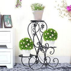 Metal Floor-Standing Wrought Iron Pot Plant Stand Flower Planter 8 Style US Sell