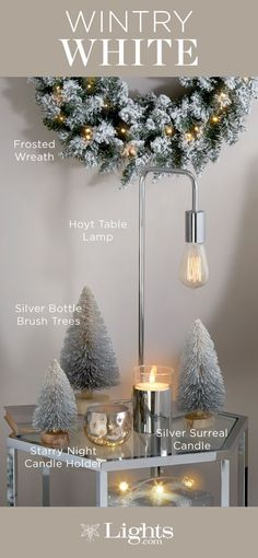 Winter White Holiday Decor | Decorating with crisp white accents, silver details, and warm candlelight offers a modern alternative to traditional holiday decor. And a plus - it creates a holiday look that will be festive throughout the season, long after gifts have been opened.