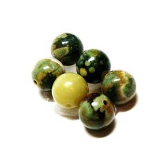 "Fancy agate beads, round agate cabs, 7 mm loose beads, lime orange green, ,jewelry making, jewelry supplies, ""Speckled Green Pups"" by Michaelangelas on Etsy"