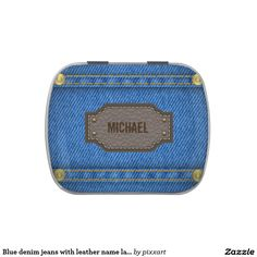 Blue denim jeans with leather name label jelly belly candy tin