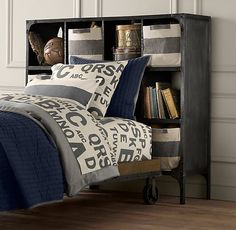 Industrial Cart Platform Bed | Beds & Bunk Beds | Restoration Hardware Baby & Child - with one wide cubby headboard - but hiding storage?