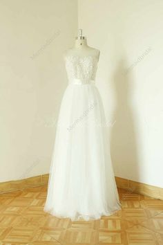 A-line sheer ivory wedding dress lace tulle by MermaidBridal