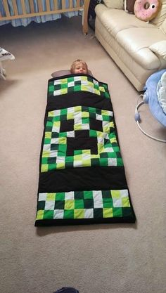 DIY Baby Sleeping Bag : DIY Minecraft Creeper Sleeping Bag