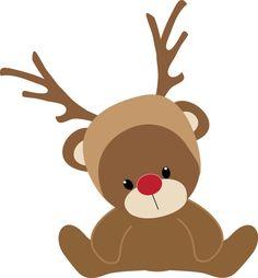 CHRISTMAS TEDDY BEAR REINDEER CLIP ART