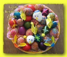 my easter decoration, decoupaged eggs, eggs with bow, origami bunny baskets, cotton wool chickens