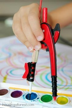 """Compass Painting ~ """"a fun and playful way to combine math and art! Who knew school supplies could be so fun!"""" // Pssh, WE knew school supplies could be fun."""
