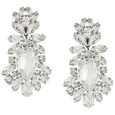 Dolce & Gabbana drop crystal clip-on earrings ($715) ❤ liked on Polyvore featuring jewelry, earrings, metallic, clip on earrings, flower jewellery, white earrings, crystal earrings and glitter earrings #Clip-OnEarrings
