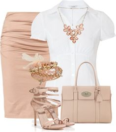 """Blush pencil skirt and white blouse"" by missyalexandra ❤ liked on Polyvore"