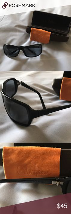 Cole Haan Men's Black Sunglasses and Case Set Black Cole Hana's Men Sunglasses with brown leather case and cleaning clothes NWOT Cole Haan Accessories Sunglasses