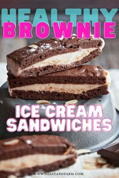 You'd never know these ice cream sandwiches were Weight Watchers friendly! Delicious vanilla ice cream smashed between two homemade chocolate brownies will curb that sweet tooth and keep your diet on track. Try with other ice cream flavors, too! Easy Homemade Desserts, Easy Desserts, Dessert Recipes, Real Food Recipes, Easy Recipes, Yummy Food, Healthy Comfort Food, Ice Cream Flavors, Recipe From Scratch