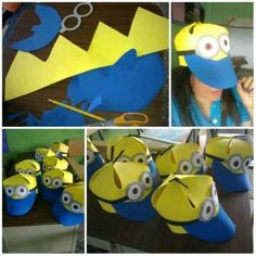 Minions Hats for kids. Crazy Hat Day, Crazy Hats, Minion Craft, Minion Hats, Hat Crafts, Diy And Crafts, Crafts For Kids, Funny Hats, Minion Birthday