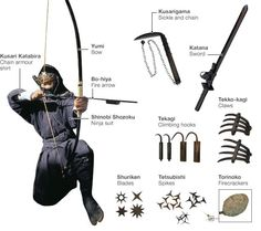 The Stock Ninja Weaponry trope as used in popular culture. Ninja are cool, which is why fiction writers love them. They're masters of stealth and deception … Armas Ninja, Ninja Kunst, Bushido, Armor Shirt, Ninja Gear, Martial Arts Weapons, Art Asiatique, Shuriken, Mixed Martial Arts