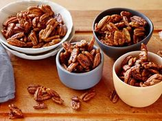 Get Spiced Pecans Recipe from Food Network - I added paprika , rosemary, and a little honey