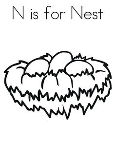 Bird Nest N Is For Coloring Pages
