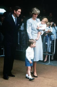 Prince Charles, Princess Diana, Harry and William Boarding Britannia. PA